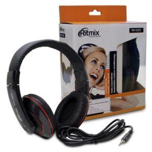 Наушники полноразмерные «Ritmix» RH-525, цвет: чёрный, шнур 2.0м, Jack 3-5мм, в коробке (1/12) БЗ007883