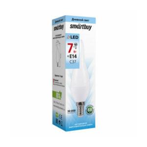 Лампа светодиодная С37 Smartbuy 7.0W/60Вт, E14, 6000К, свеча, холодный дневной свет, матовая колба, 100х37мм  (10/100) [SBL-С37-07-60K-E14] БЗ007912
