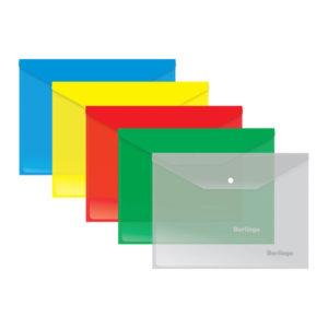 Папка-конверт на кнопке А5, «Berlingo», 180мкм, арт.OBк_15005, ассорти (10/40/360) БЗ007944