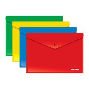 Папка-конверт на кнопке А4, «Berlingo», 180мкм, арт.Akк_04401, непрозрачная, ассорти (12/24/120) БЗ007946