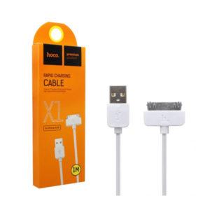 Кабель-удлинитель «HOCO»  X1, для iPhone 4, USB2.0 — Apple 30pin (3,3GS,4,4S), 2.1А, длина 1.0м, цвет: белый, оплётка: пвх, круглый (1/5) БЗ007997