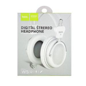 Наушники полноразмерные с микрофоном «HOCO» W5, цвет: белый, шнур 1.2м, Jack 3-5мм, в коробке (1/12) БЗ008005