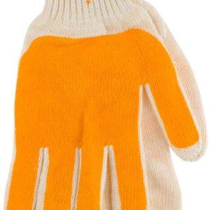 Перчатки трикотажные х/б «Архип»,  белые, с одинарным латексным покрытием оранжевым, полуоблив 2/3, 33гр.,15 класс вязки (1/12) БЗ008031