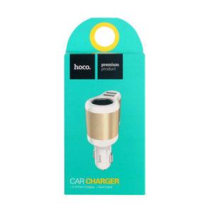 Разветвитель прикуривателя «HOCO» арт.UC206, на 1 прикур, 2USB выхода, 12V/24V, 3.1A,  цвет: белый (1) БЗ008075