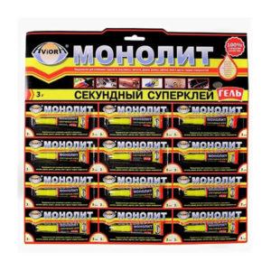Клей ГЕЛЬ секундный «Монолит-Aviora» 3гр. мульти-карта 12шт. (12/288) БЗ008076