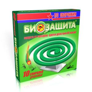 ОБОРОНХИМ Спирали от комаров 10шт., БИОЗАЩИТА, цвет спиралей: зеленый, дата изг. 03.2019, срок годности: 2 года (1/60) БЗ008078