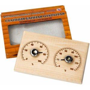 Станция банная открытая «Прямоугольная», СБО-2ТГ, термометр+гигрометр, 18x11x1.5см, коробка (1/10) БЗ008122