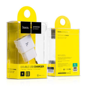 Адаптер питания сетевой «HOCO», арт. UH202, 2 USB порт, выход: 5.0V—2.0А, цвет: белый, евровилка (1/5) БЗ008141
