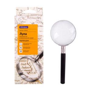 Лупа просмотровая в металлической оправе круглая 4х d=60мм, OfficeSpace, рукоять пластиковая, арт.235654  (1/12) БЗ008154
