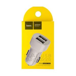 Автомобильное зарядное устройство «HOCO» Z2А, выход: 2 порт USB, 2,1А , 1500 mAh, 1.0А, вход:DC 12, 24V, цвет белый, в коробке (1/5) БЗ008210