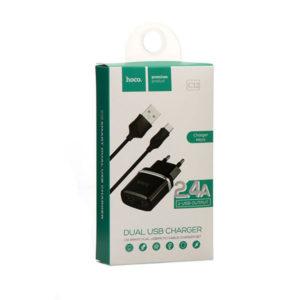 Адаптер питания сетевой «HOCO», арт. C12, 2 USB+ кабель micro USB, выход: 5.0V—2.4А, цвет: черный, евровилка (1/5) БЗ008212