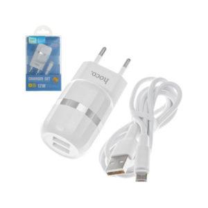 Адаптер питания сетевой «HOCO», арт. C41, 2 USB+ кабель micro USB, выход: 5.0V—2.4А, цвет: белый, евровилка (1/5) БЗ008213
