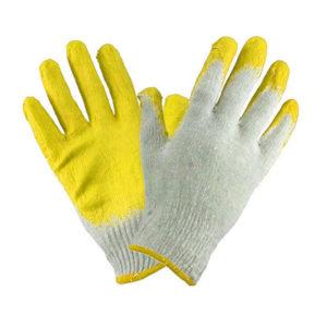 Перчатки трикотажные х/б «Лидер», белые, с одинарным латексным покрытием желтый, полуоблив 2/3, 33гр.,15 класс вязки (10/300) БЗ008261