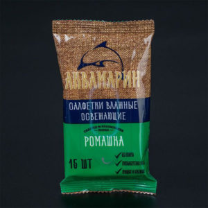 Аквамарин Влажные салфетки 15шт. с ароматом, ромашка «Camomile» (1/120) БЗ008263