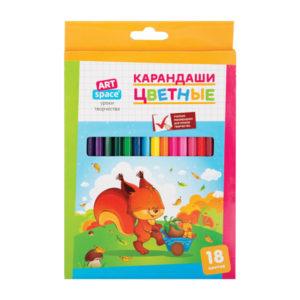 Карандаши графитные цветные 18 цветов «ARTspace» арт.СР18_7882, Зверята, длина 175 мм (1/8) БЗ008264