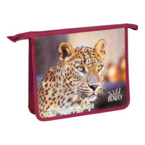 Папка для тетрадей, 2 отделения, А4, ArtSpace «Дикие кошки. Леопард», пластик., на молнии, арт.ПТ-Р215_16545 (1/1) БЗ008371