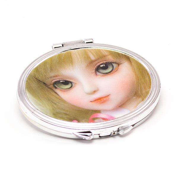 """Зеркало компактное складное 6.5см """"Aishu"""" арт.№123, пластик, форма: квадрат, цвет микc, с галограммой: девочка, 6.5 х 6.5 см (1/100) БЗ008386"""