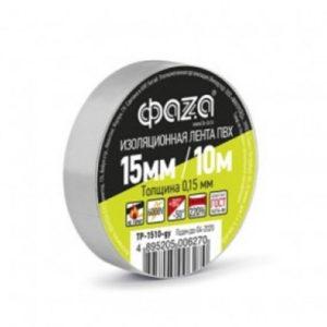 Изолента ПВХ ФАZA 15мм x 10м x 0,15мм серая, инд.упаковка (10/200) [TP-1510-] БЗ008426