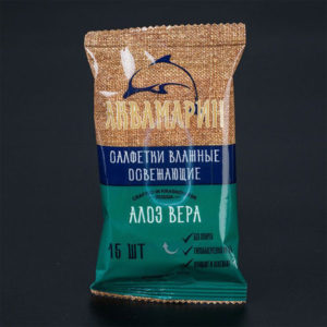Аквамарин Влажные салфетки 15шт. с ароматом «Aloe Vera» (1/120) БЗ008497