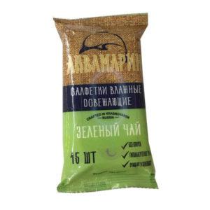 Аквамарин Влажные салфетки 15шт. с ароматом, зеленый чай «Green Tea» (1/120) БЗ008498