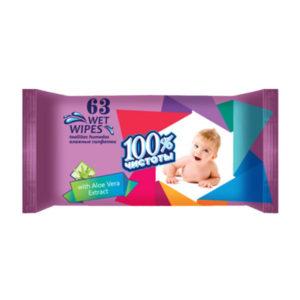 100% Чистоты Влажные салфетки 63шт. с ароматом, для детей «Aloe Vera» (1/22) БЗ008504