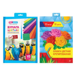 Набор крепированной бумаги «ArtSpace», А4, 32г/м2, 10 листов, 10 цветов, в папке, арт. НбКр10-10_4446 (1/1) БЗ008513