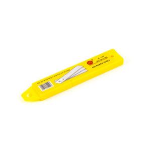 Лезвия запасные для ножа канцелярского (пистолетного) 18мм, 10шт., «HUI HUANG», арт.HH-023/A-100, сигментированные, в пластиковм пенале (1/10) БЗ008657
