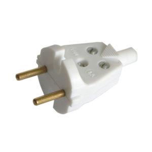 Вилка электрическая тип В прямая,6А,220В,белая арт.Electro(аналог В6-005 УХЛ4 (10/300) О0000096