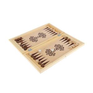 Игра «Нарды» арт.Н-1, малые, в доске, деревянные фишки, фанера, 400х200х34мм (1/25) О0000150