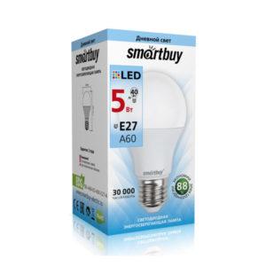 Лампа светодиодная A60 Smartbuy 5W/40Вт E27 4000К, холодный свет, 110х60мм (10/50) [SBL-A60-05-40K-E27-A] О0000222
