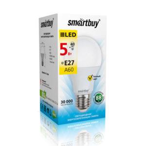 Лампа светодиодная A60 Smartbuy 5W/40Вт E27 3000К, тёплый свет, 110х60мм (10/50) [SBL-A60-05-30K-E27-A] О0000223