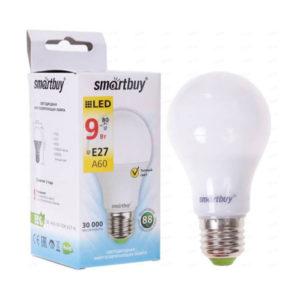 Лампа светодиодная A60 Smartbuy 9W/80Вт E27 3000К, 750Lm, тёплый свет, 110х60мм (10/50) [SBL-A60-09-30K-E27-N] О0000225