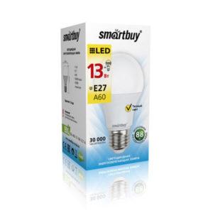 Лампа светодиодная A60 Smartbuy 13W/100Вт E27 3000К, 960Lm, тёплый свет, 110х60мм (10/50) [SBL-A60-13-30K-E27-A] О0000227