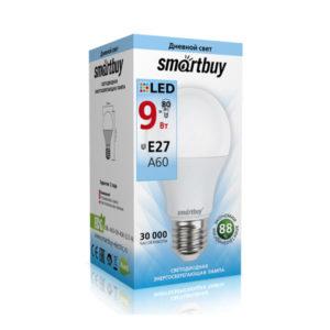 Лампа светодиодная A60 Smartbuy 9W/80Вт E27 4000К, 750Lm, холодный свет, 110х60мм (10/50) [SBL-A60-09-40K-E27-N] О0000347