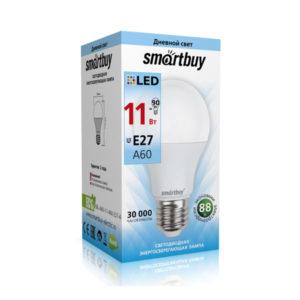 Лампа светодиодная A60 Smartbuy 11W/90Вт E27 4000К, холодный свет, 110х60мм (10/50) [SBL-A60-11-40K-E27-A] О0000348