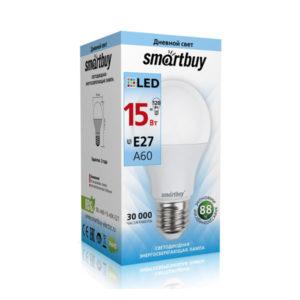 Лампа светодиодная A60 Smartbuy 15W/120Вт E27 4000К, 1450Lm, холодный свет, 110х60мм (10/50) [SBL-A60-15-40K-E27] О0000350