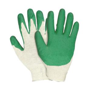 Перчатки трикотажные х/б «Марка качества» арт.0255, белые, с одинарным латексным покрытием зелёным, полуоблив 2/3, 33гр.,15 класс вязки (10/300) О0000411