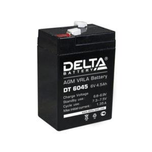 Аккумулятор Delta DT 6045, 6V, 4.5Ah, для фонарей, 70х47х107мм, 0.8кг (1/20) О0000594