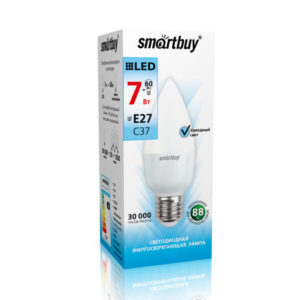 Лампа светодиодная С37 Smartbuy 7.0W/60Вт, E27, 4000К, свеча, холодный свет, матовая колба, 100х37мм (10/100) [SBL-С37-07-40K-E27] О0001297