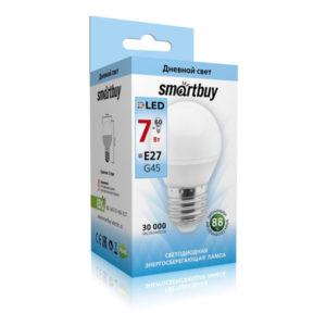 Лампа светодиодная G45 Smartbuy 7W/60Вт E27 4000К шар,холодный свет, 81х45мм (10/100)  [SBL-G45-7-40K-E27] О0001299