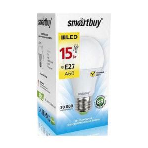 Лампа светодиодная A60 Smartbuy 15W/120Вт E27 3000К, 1450Lm, тёплый свет, 110х60мм (10/50) [SBL-A60-15-30K-E27] О0001402