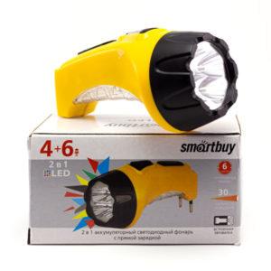 Фонарь ручной аккумуляторный 2 в 1 Smartbuy SBF-87-Y 4+6 диодов LED в рукояти,0.5Ah,4V, желтый,2 режима, ABS-пластик,коробка (60) О0001452