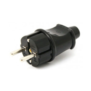 Вилка электрическая тип В прямая с заземлением,16А,220В,черная «ROX» (20/600) О0001572
