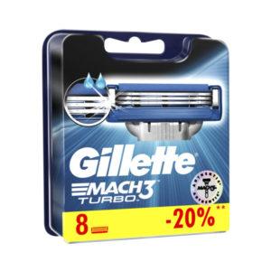 Сменные кассеты для бритья Gillette Mach 3 Turbo 8шт. три лезвия,увлажняющая полоска, стикер (1/10) О0001734