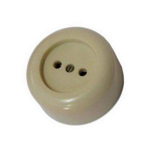 Розетка наружная карболитовая керамика круглая белая (20/400) 00001221
