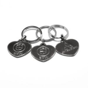 Брелок металлический авто. KL-0081 Иномарки, форма: сердце, микс, 3.5х3.5х0.15см, в пакете, по12шт. (12/1200) 00002743