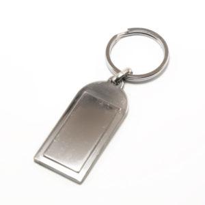 Брелок металлический DB-63 Под нанесение, тяжёлый, цвет серебро, форма: прямоугольник, 9.5х2.5х0.2см, в пакете, по 12шт. (12/1200) 00002760