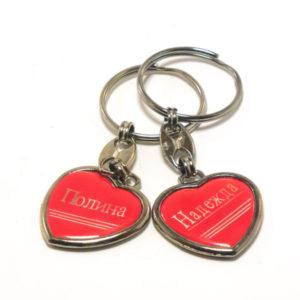 Брелок метал. DB-51 Имена женские, форма: сердце, с красной накладкой, 8х3х0.2см, в пакете, по 12шт. (12/1200) 00003733
