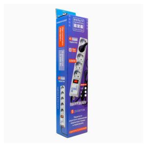 Сетевой фильтр «Power Cube» серия SPG-B, 5г-1.9м-zv, 10А, ПВС 3х0.75, цвет серый, заземление, выключатель, в коробке (1/30) 00003777