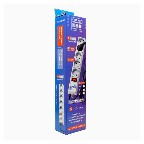 """Сетевой фильтр """"Power Cube"""" серия SPG-B, 5г-3.0м-zv, 10А, ПВС 3х0.75, цвет серый, заземление, выключатель, в коробке (1/30) 00003778"""